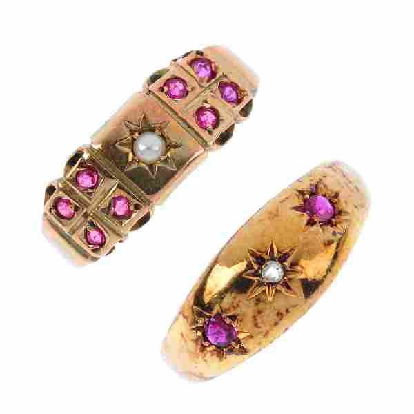 Four early 20th century gold gem-set dress rings. To