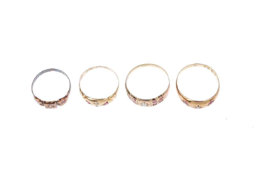 Four early 20th century gold gem-set dress rings. To - 2