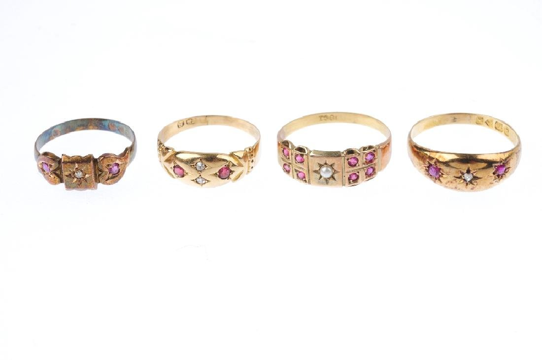 Four early 20th century gold gem-set dress rings. To - 3