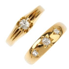 Two diamond dress rings. To include an 18ct gold