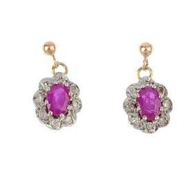 Three pairs of diamond and gem-set earrings. To include