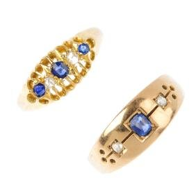 Two late Victorian and early 20th century gold sapphire