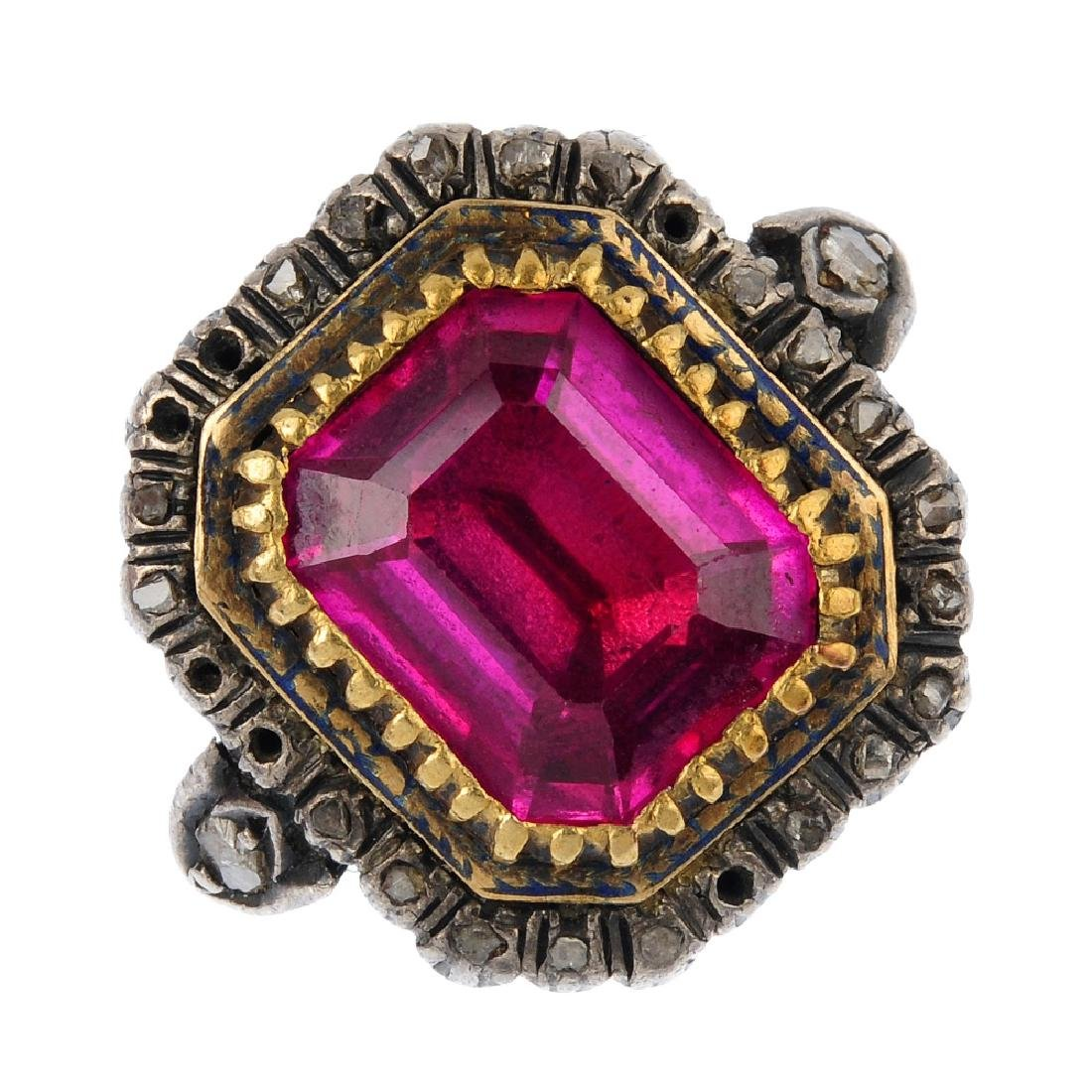 Two items of paste, synthetic ruby and diamond
