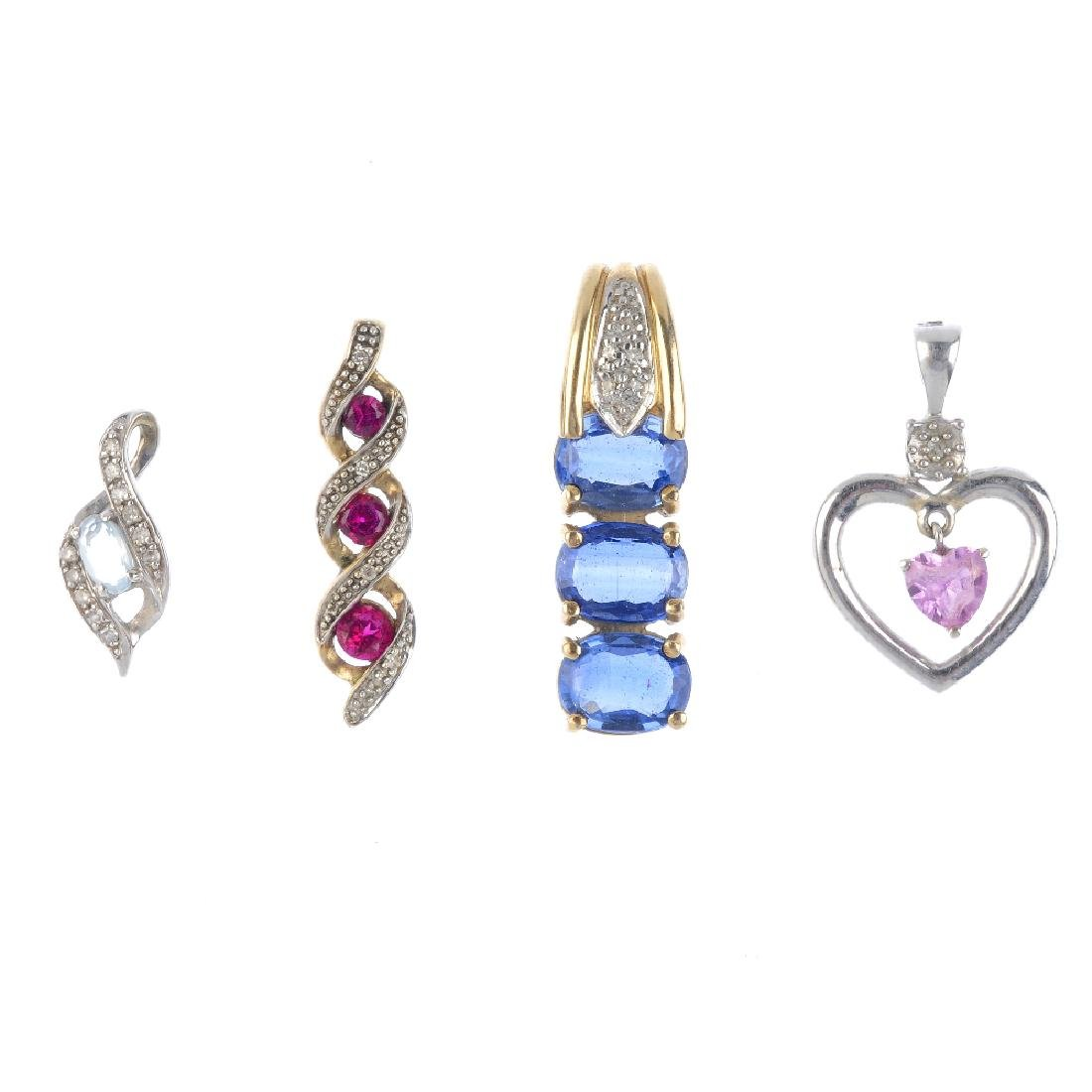 Four gem-set pendants. To include a synthetic ruby and