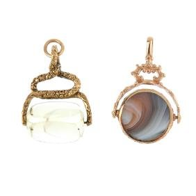 Two gem-set fobs. To include a 1980s 9ct gold hardstone