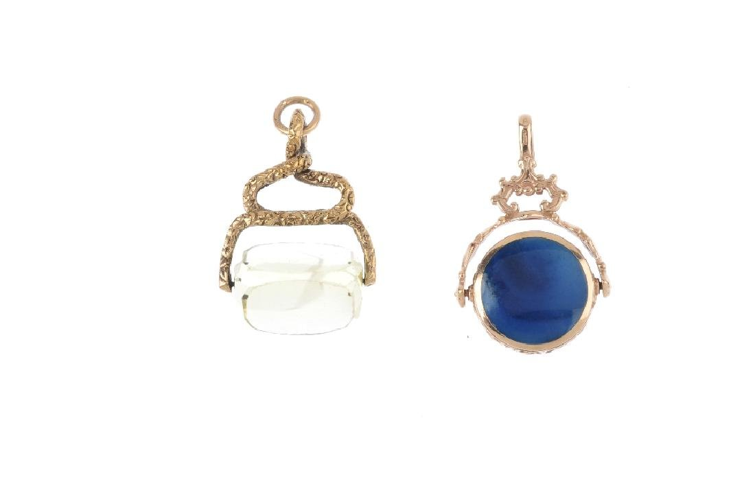 Two gem-set fobs. To include a 1980s 9ct gold hardstone - 2