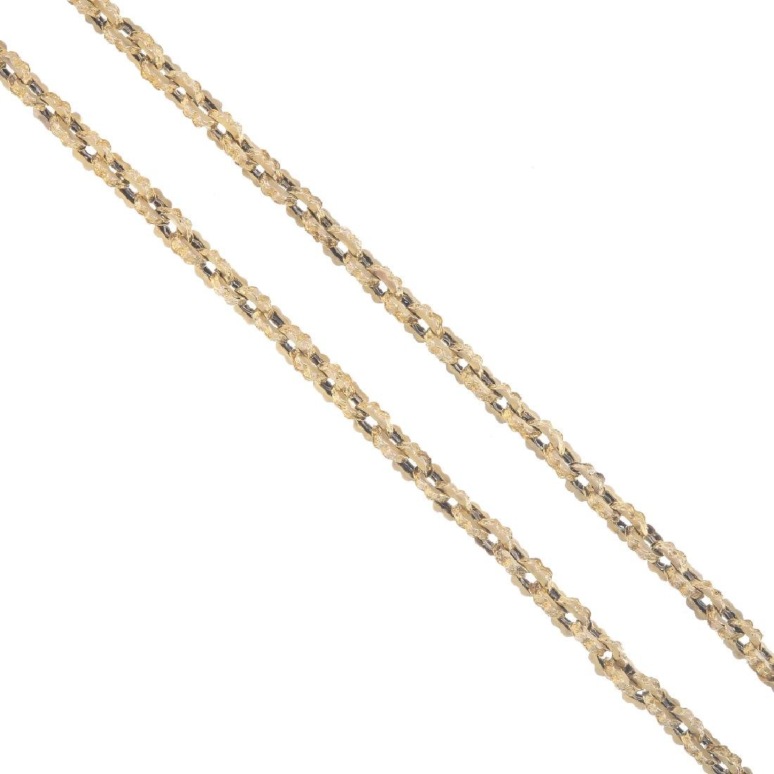 A longuard chain. Designed as a fancy-link chain, with
