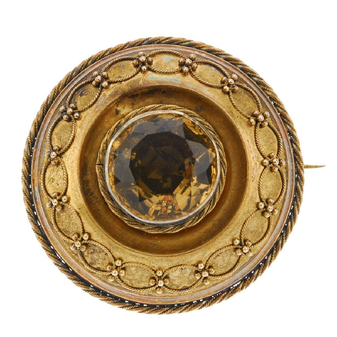 A late 19th century citrine memorial brooch. Of