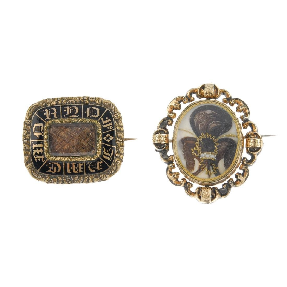 Two late Victorian memorial brooches. The first a