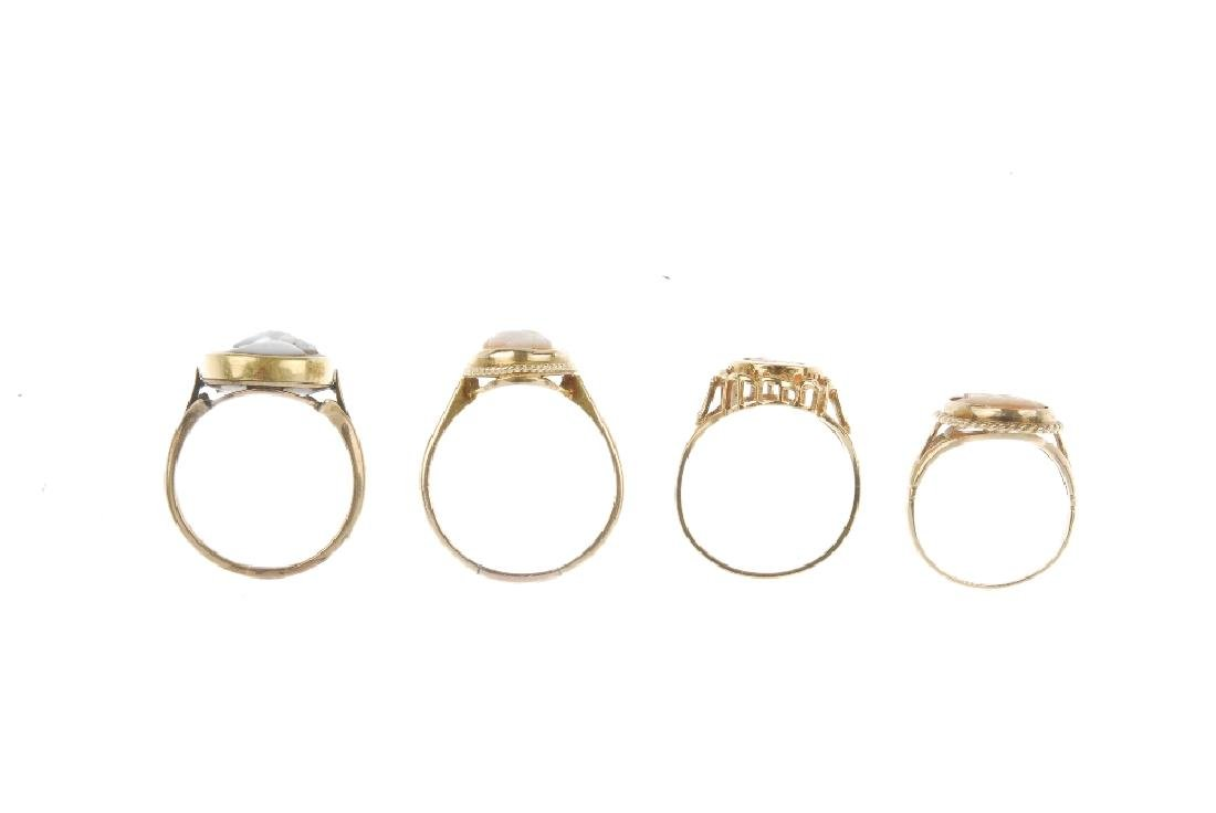 Four cameo rings. Each designed with oval cameo panels - 2