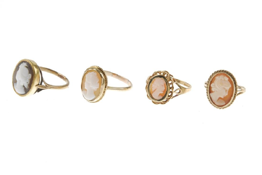 Four cameo rings. Each designed with oval cameo panels - 3