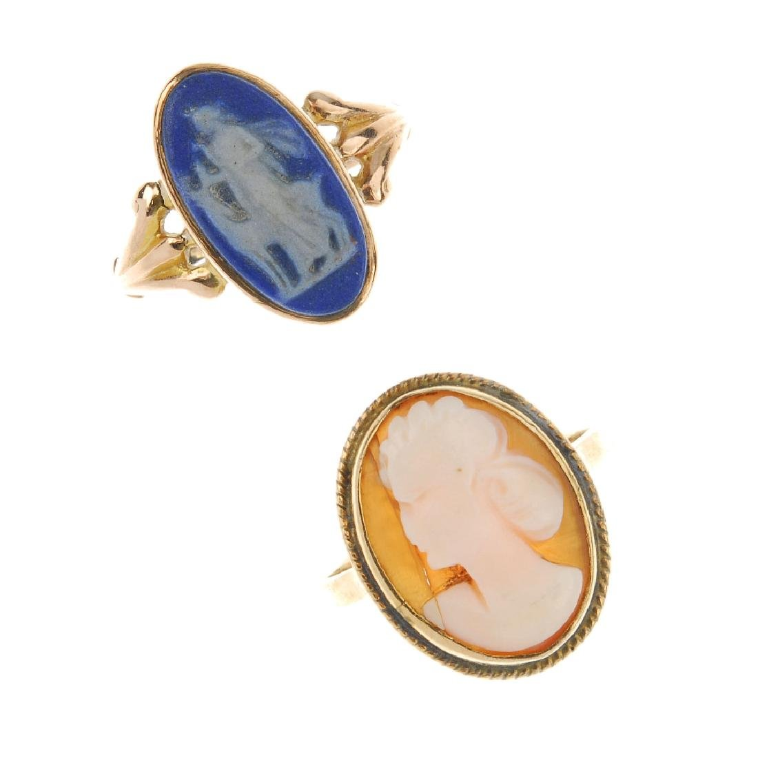 Two cameo rings. The first a 9ct gold Wedgwood blue
