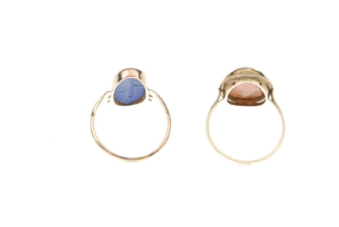 Two cameo rings. The first a 9ct gold Wedgwood blue - 3