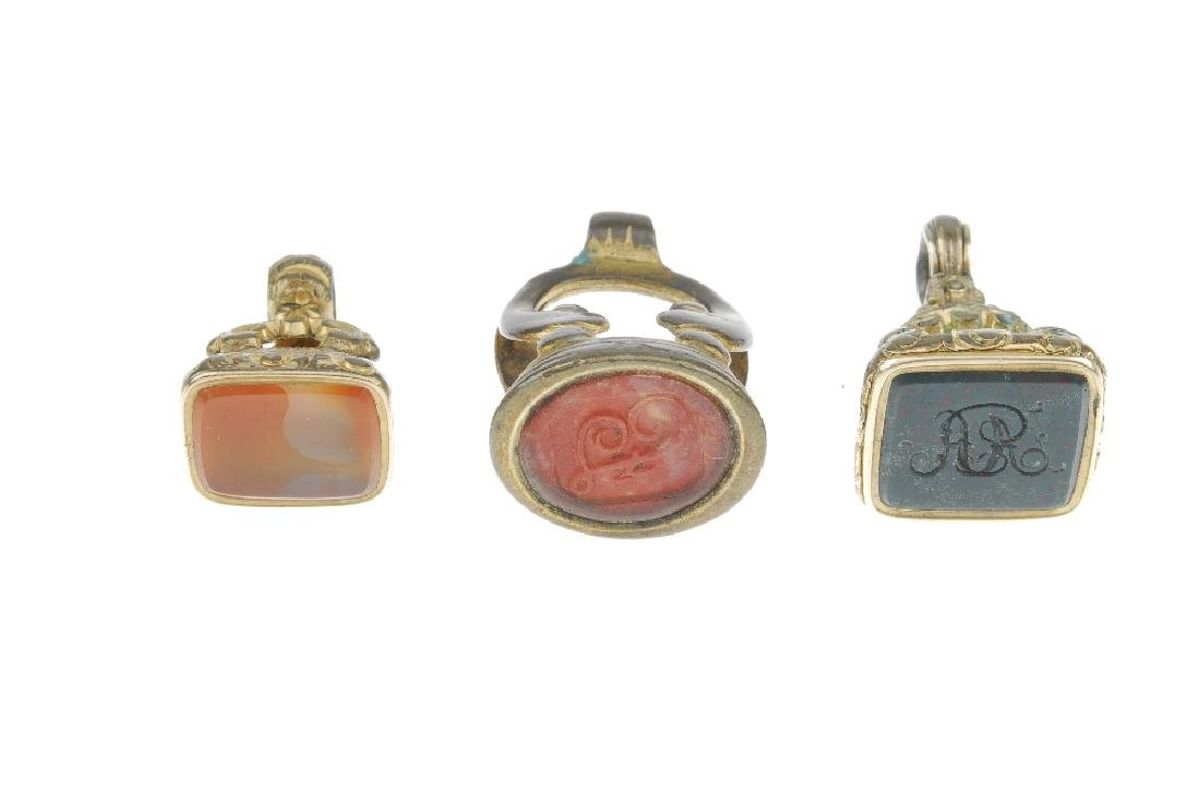 A selection of fobs. To include an intaglio fob reading - 2