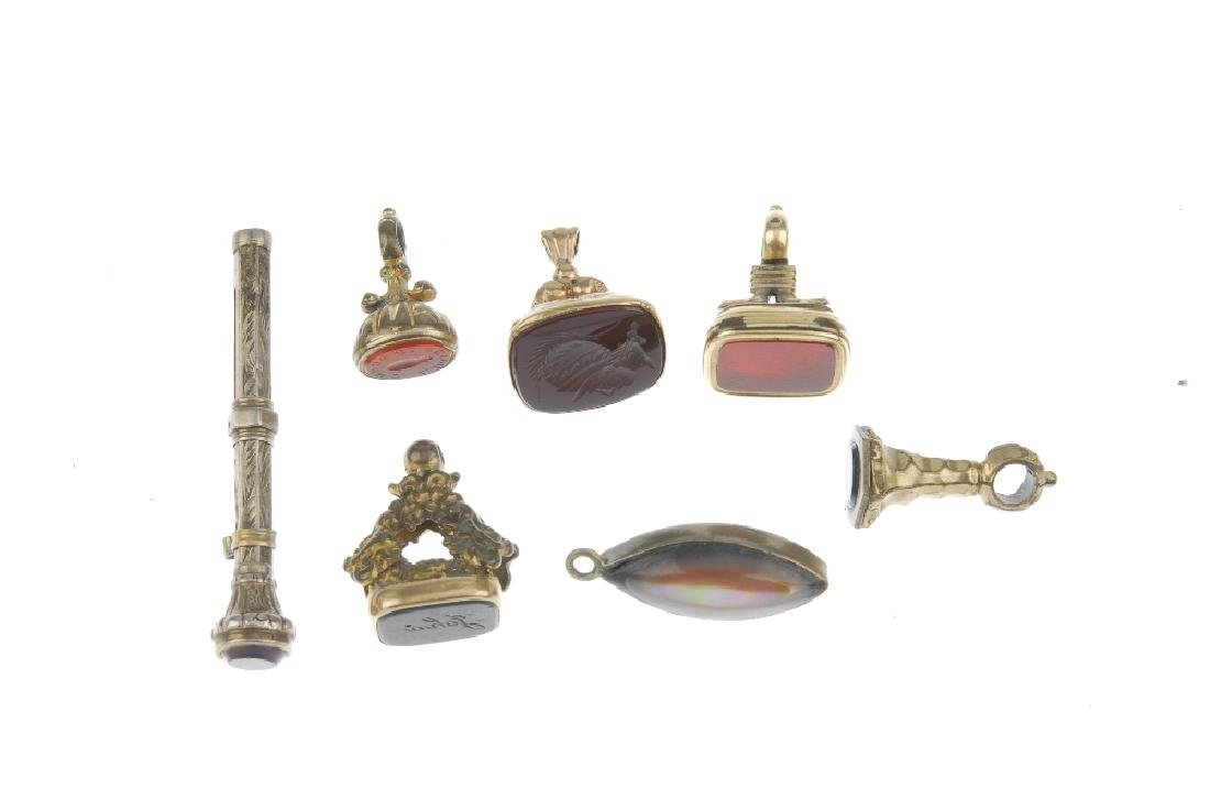 A selection of fobs. To include an intaglio fob reading - 3