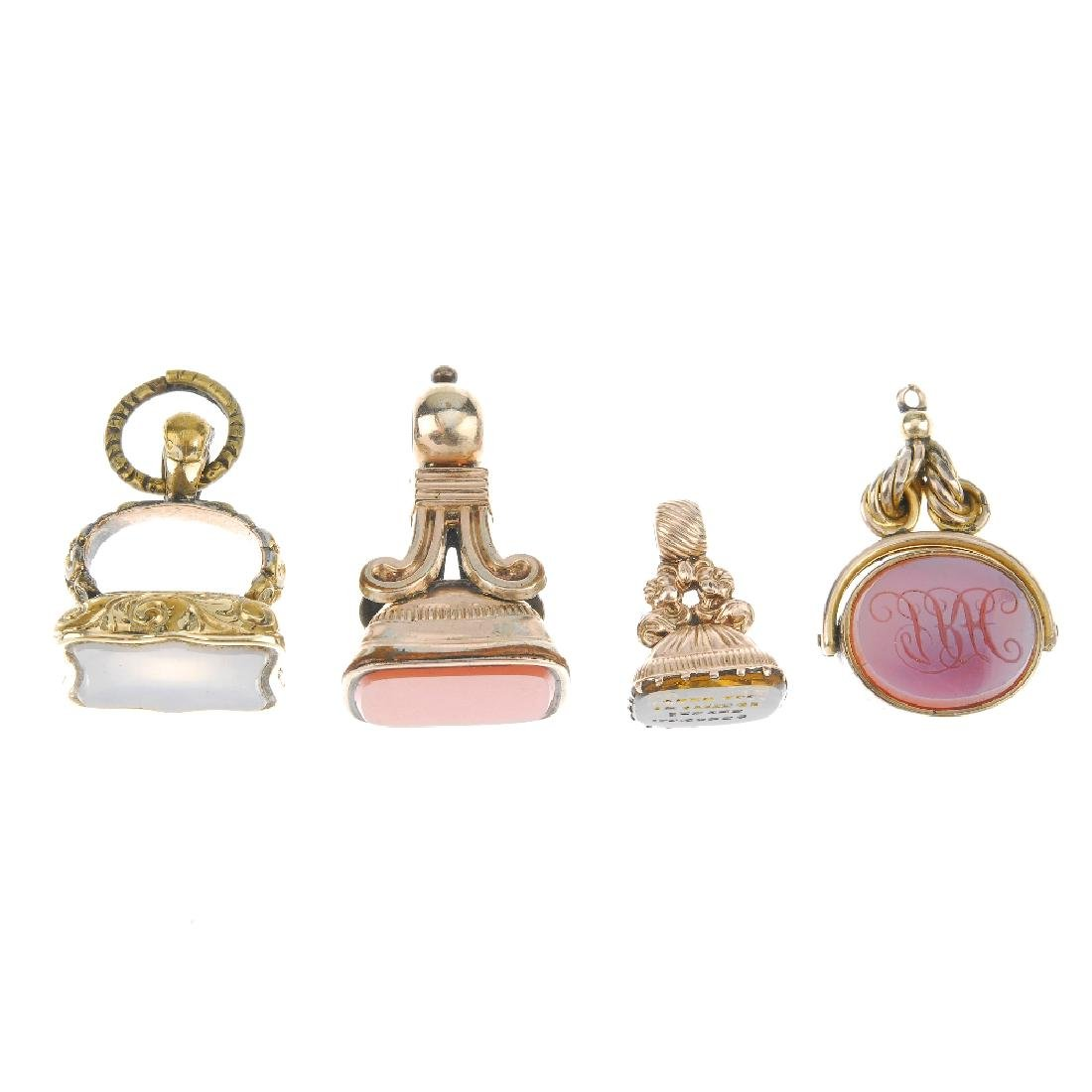 Six gem-set fobs. To include a yellow paste fob of