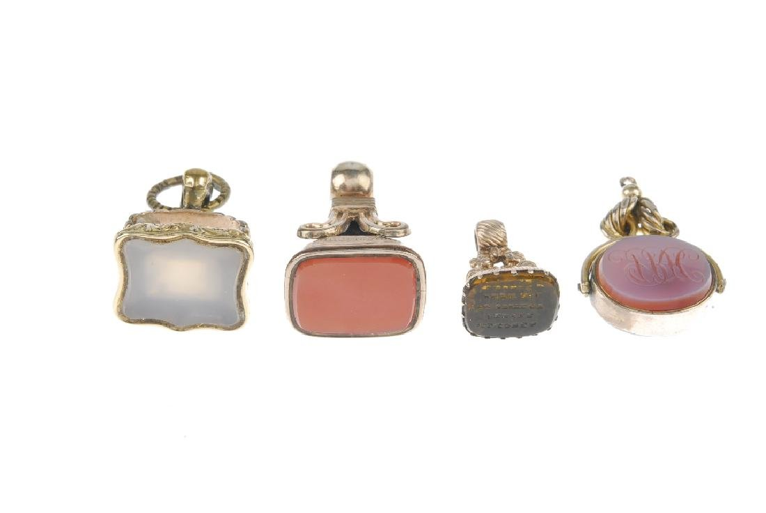 Six gem-set fobs. To include a yellow paste fob of - 2