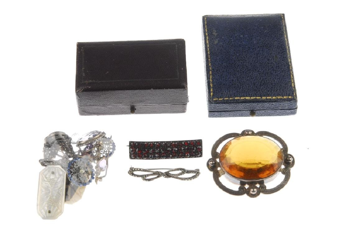 A selection of marcasite and paste jewellery. To - 3