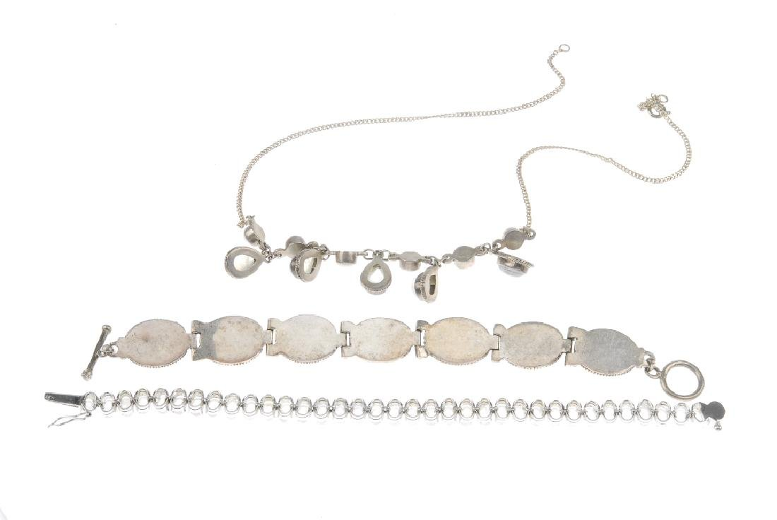 A selection of silver and white metal gem-set - 2