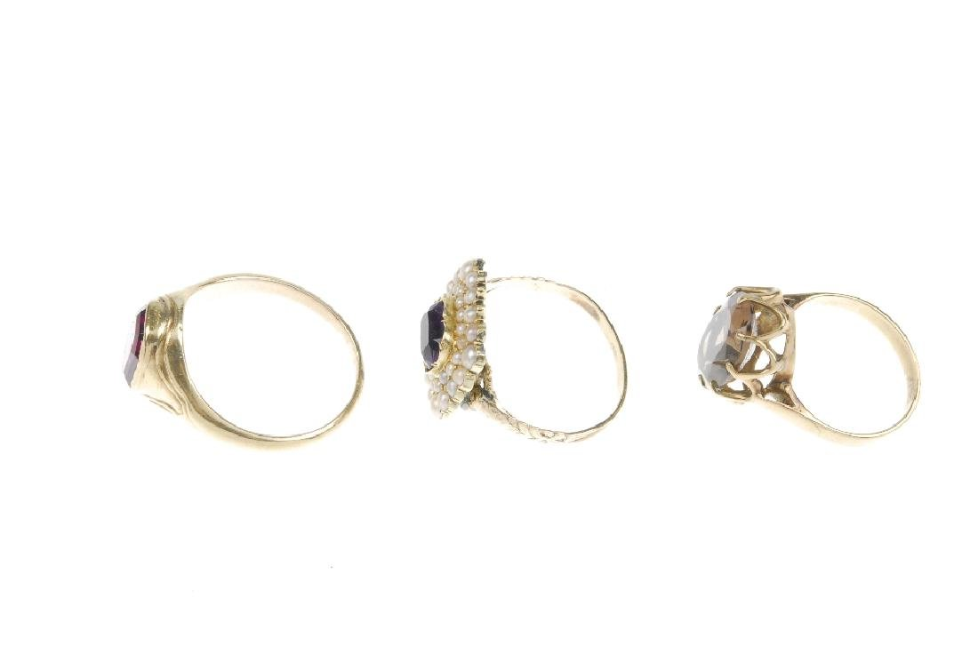 Three rings. The first a rectangular amethyst claw-set - 2