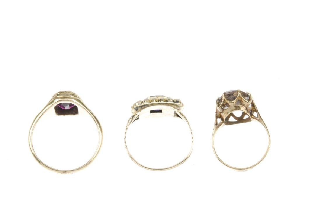 Three rings. The first a rectangular amethyst claw-set - 3