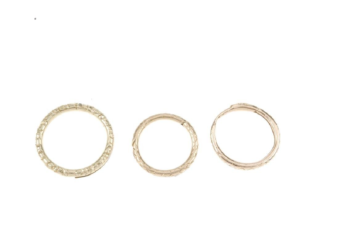 A selection of jewellery. To include three split rings, - 4