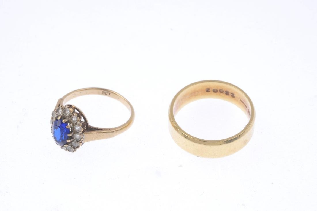 Two rings. To include an 18ct gold band ring, and a - 3