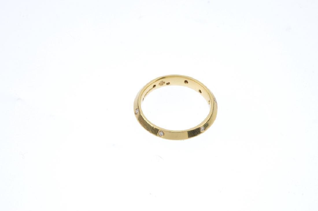 An 18ct gold diamond band ring. The angular band, with - 2