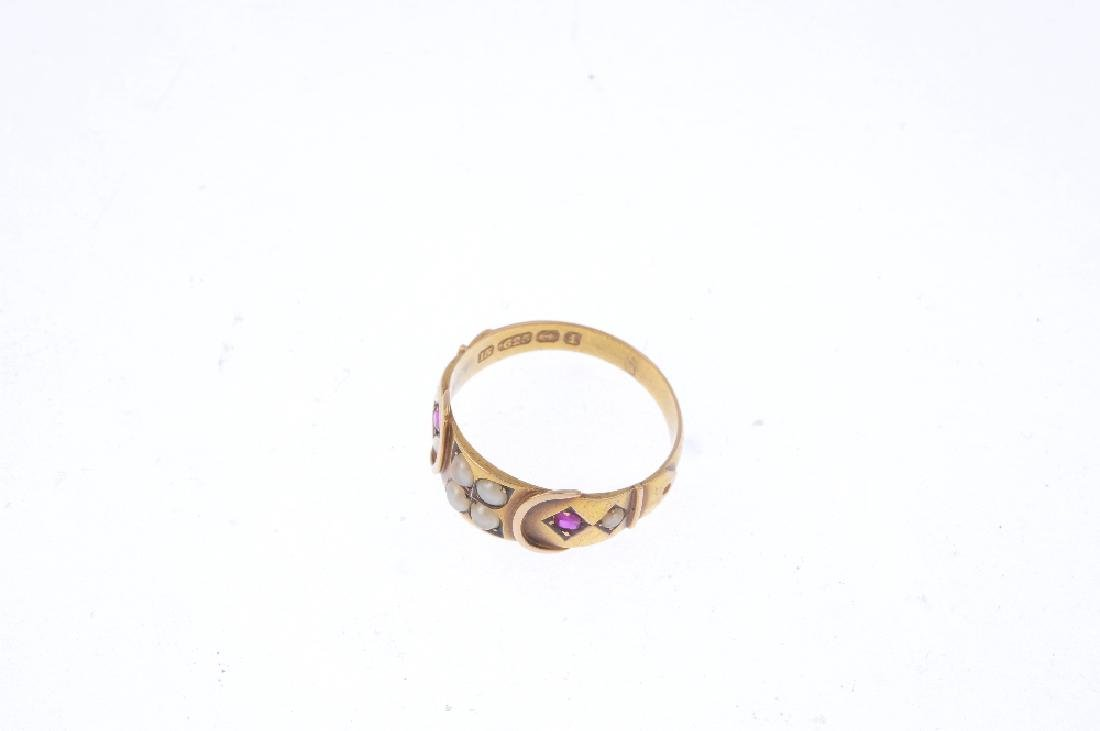 A late Victorian 15ct gold gem-set ring. Designed as a - 3