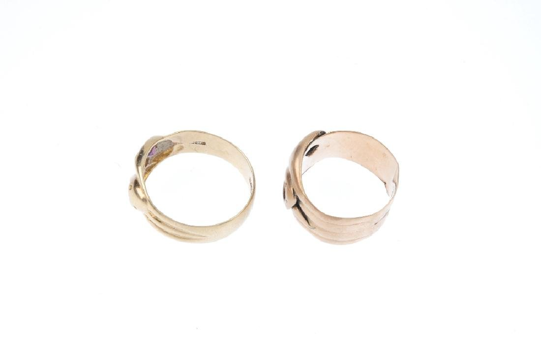 Two 9ct gold band rings. Each designed as a pair of - 2