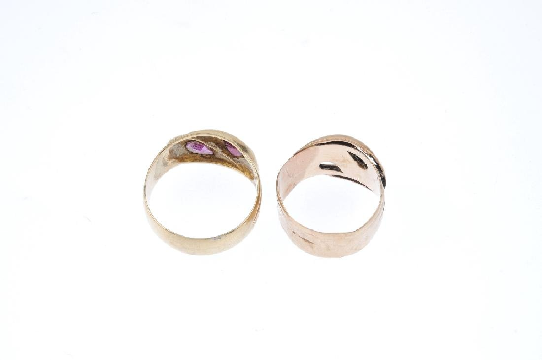 Two 9ct gold band rings. Each designed as a pair of - 3
