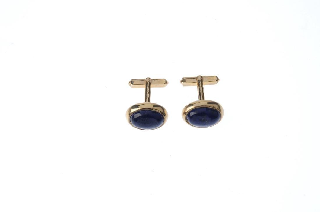 A pair of 9ct gold lapis lazuli cufflinks. Each - 2