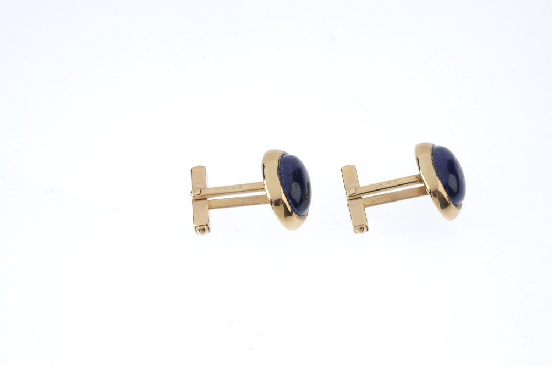 A pair of 9ct gold lapis lazuli cufflinks. Each - 3