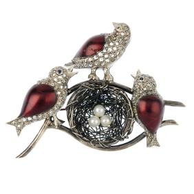 A diamond, enamel and cultured pearl brooch. Designed