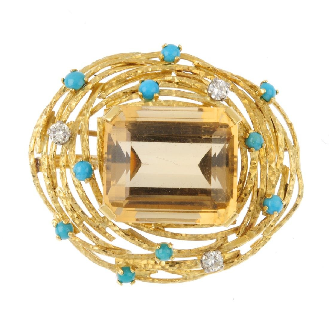 A 1970s citrine, diamond and turquoise pendant. The