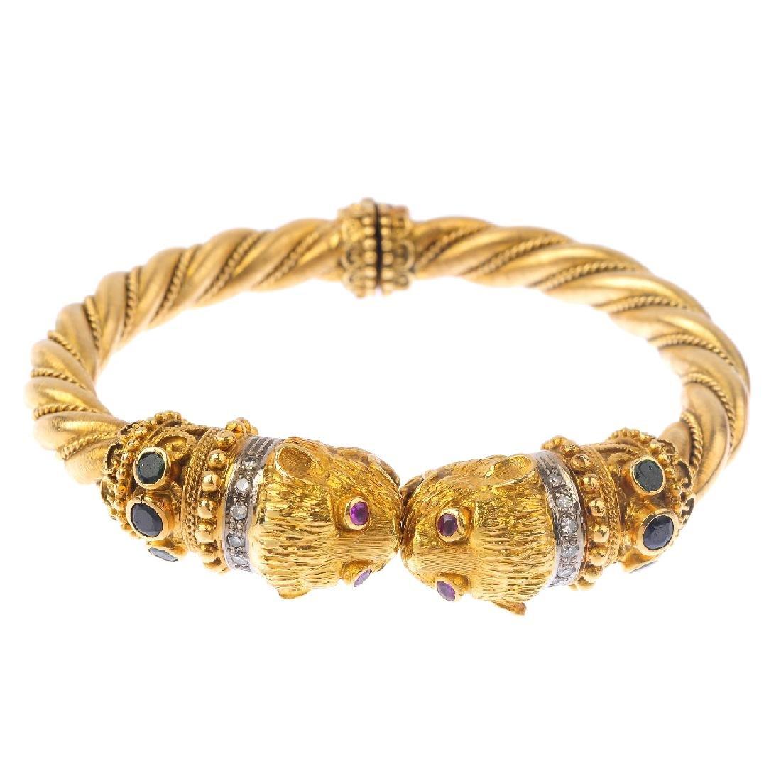 ILIAS LALAOUNIS - a diamond and gem-set double lion