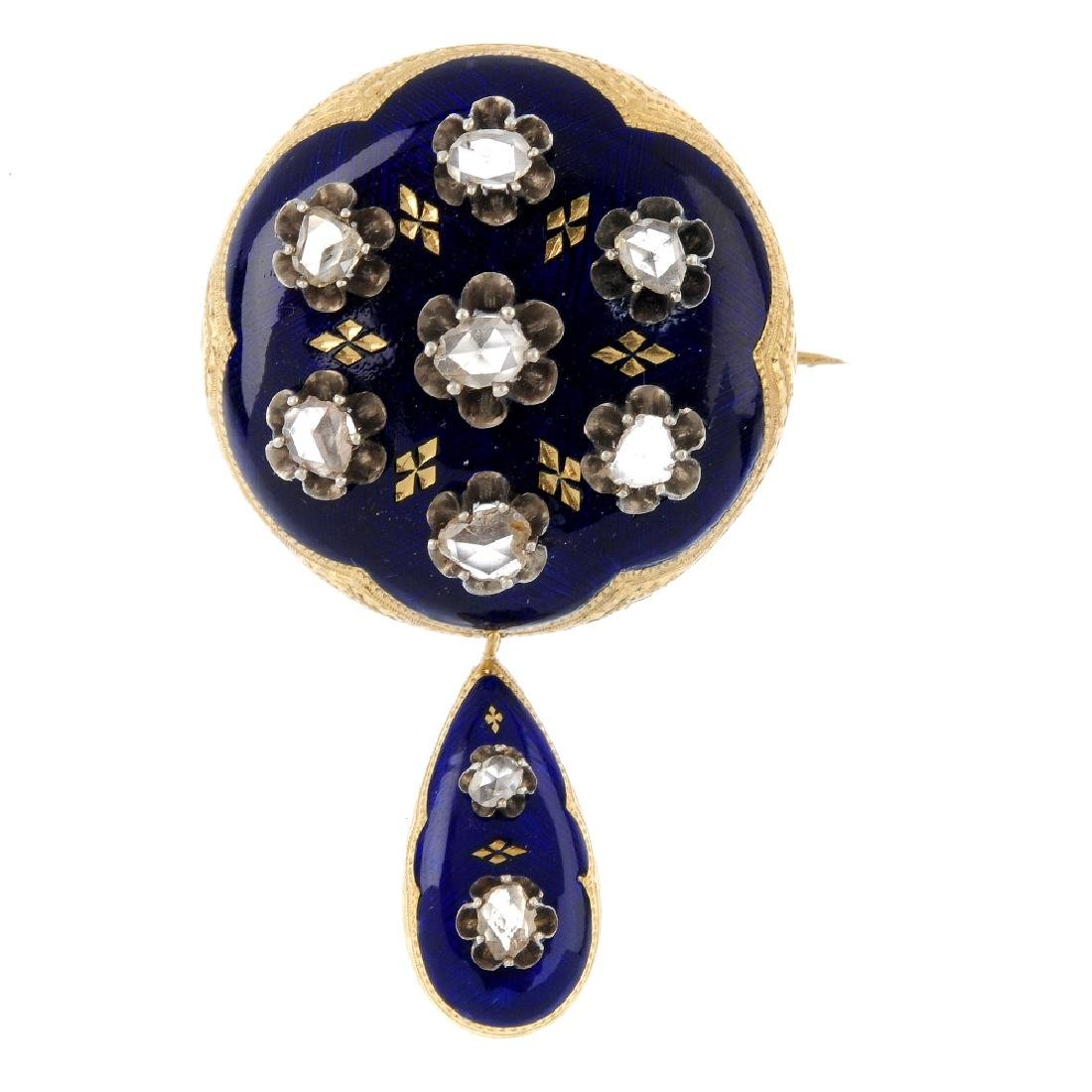 A late Victorian diamond and enamel brooch. The