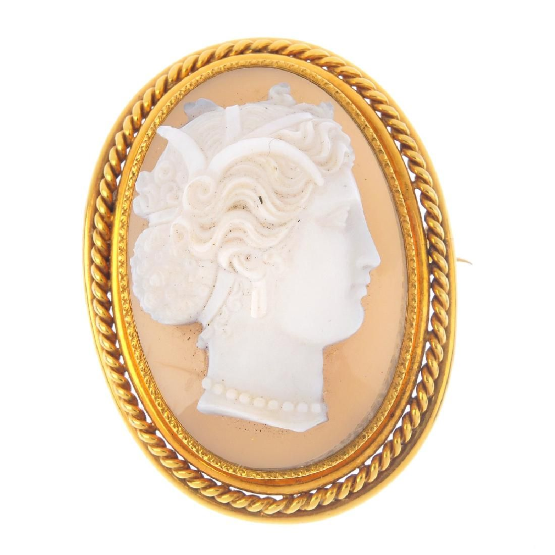 A late Victorian gold hardstone cameo brooch. Of oval