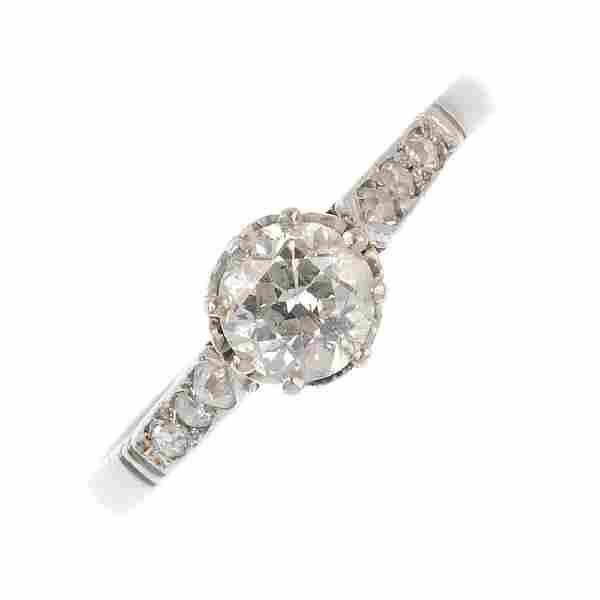 A mid 20th century platinum diamond single-stone ring.