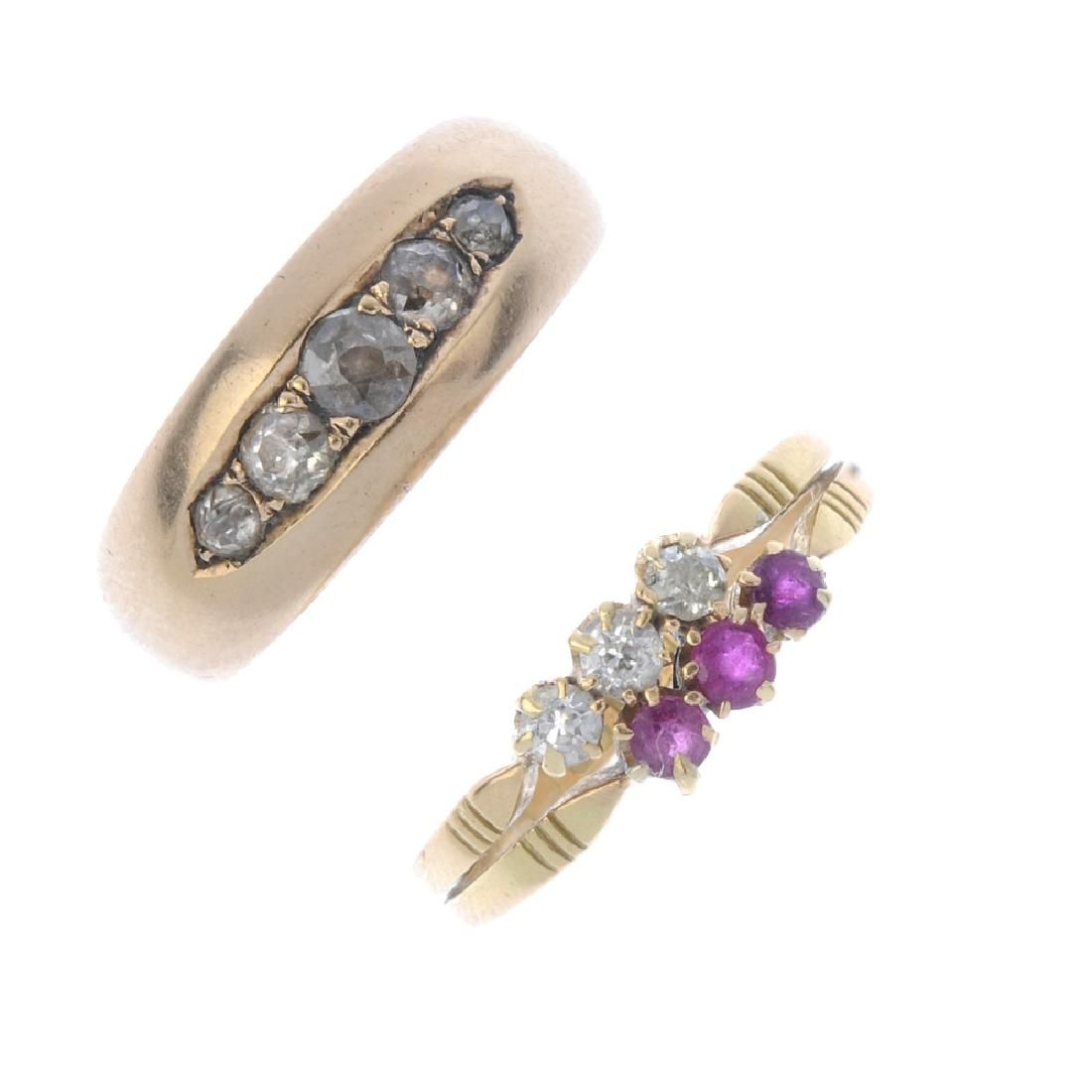 Two diamond and ruby rings. To include an early 20th