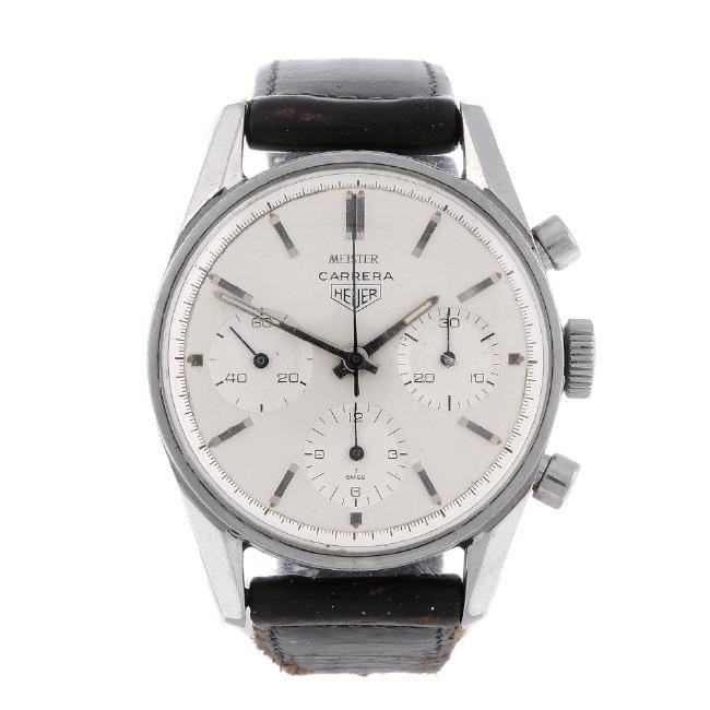 HEUER - a gentleman's Carrera chronograph wrist watch.