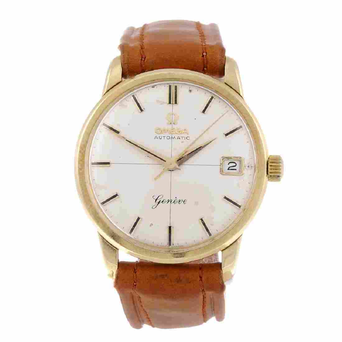 OMEGA - a gentleman's Genève wrist watch. Yellow metal