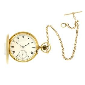 A half hunter pocket watch. 18ct yellow gold case,