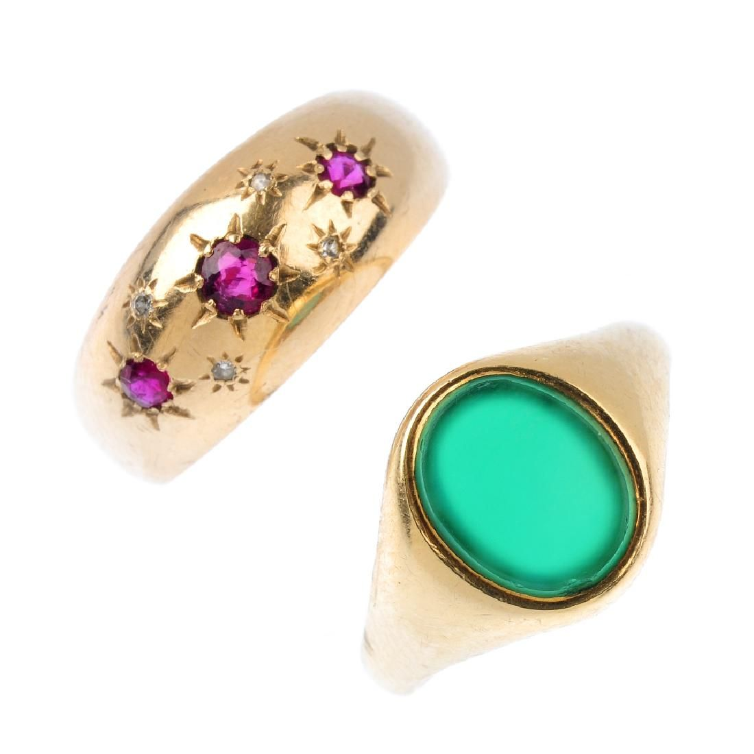 Two gem-set rings. To include a circular-shape ruby and