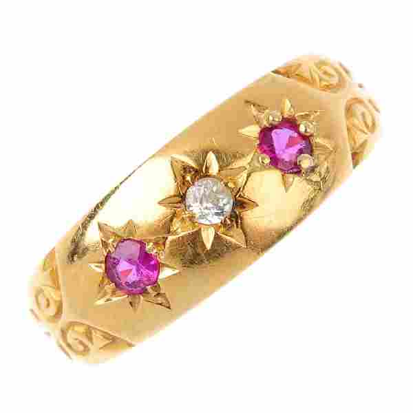 Two early 20th century 18ct gold gem-set rings. Each
