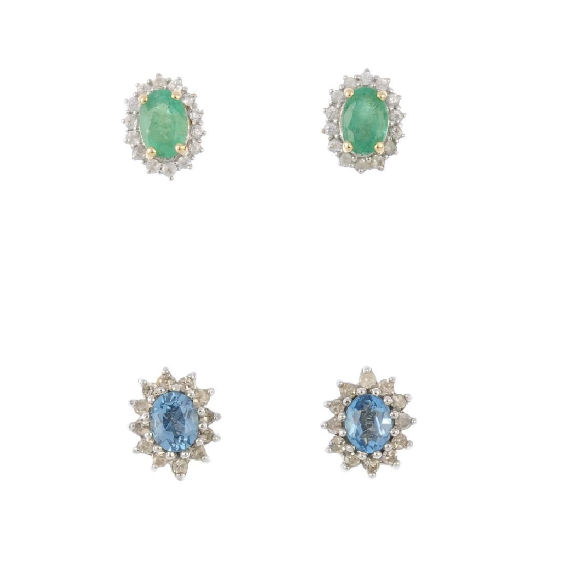 Five pairs of gem-set and diamond earrings. To include