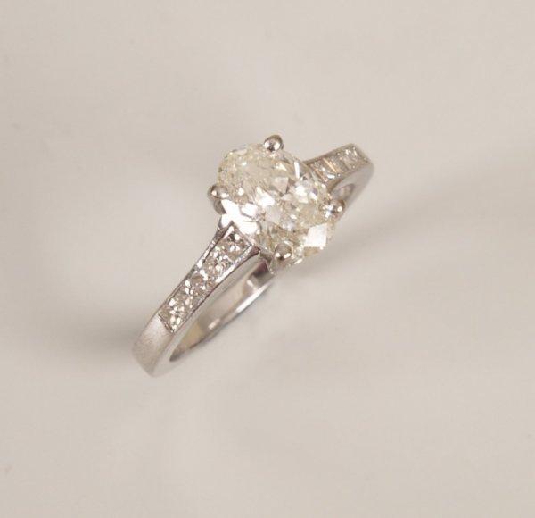 2: 18ct white gold mounted oval single stone diamond ri