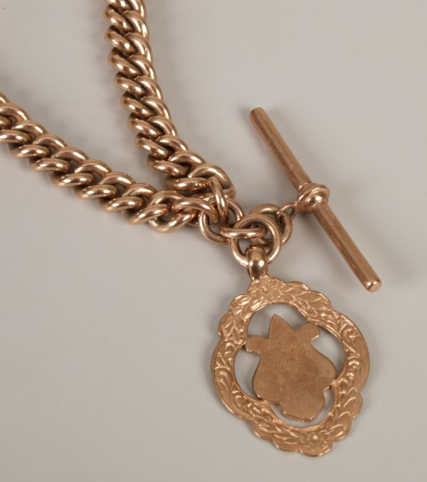 3: 9ct rose gold solid graduated curb link double Alber
