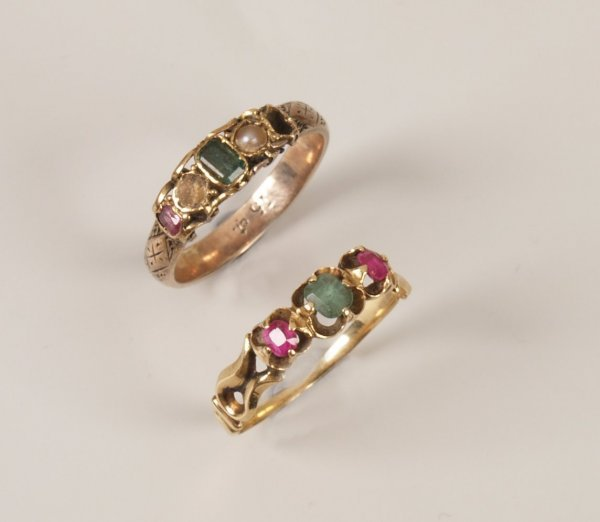 23: Two rings to include a 15ct gold emerald, pearl and