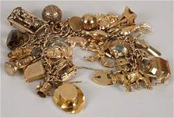 180: 9ct gold charm bracelet with approximately 40 char